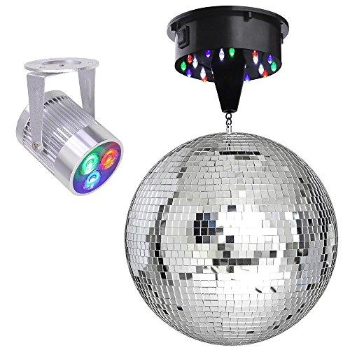 "12"" Mirror Disco Ball DJ Stage Party LED Light Rotating Motor 3W Spotlight Kit (RGB)"