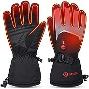 Heated Gloves Electric Rechargeable Battery Powered - Savior Upgrade 7.4V USB Heating Ski Gloves Men Women Hun