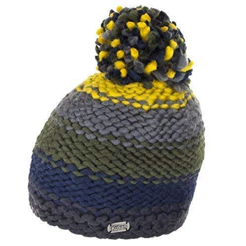 24b7c5bd9400d8 Kusan Thick Yarn Bobble Hat - Navy/Yellow: Amazon.co.uk: Clothing
