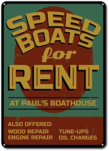 Metal Signs Speed Boat Sign, Custom Speed Boats For Rent Sign, Lake House Sign, Lake House Decor, Boathouse Name Sign - Novelty Aluminum Ensa1001081 - ()