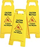 Galashield Caution Wet Floor Sign 3 Pack Commercial 2-Sided Safety Yellow Signs (26' Tall)
