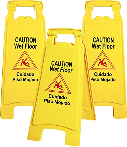 Galashield Caution Wet Floor Sign 3 Pack Commercial 2-Sided Safety Yellow Signs (26