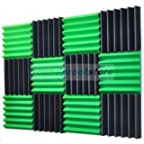 "2"" x 12"" x 12"" GREEN/CHARCOAL Acoustic Wedge Studio Soundproofing Foam 12 Pack"