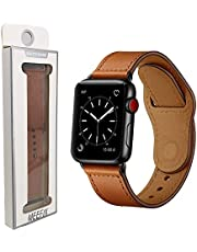 MEEFIX Genuine Stylish Leather Simpleness Strap Buckle Band Replacement for Classic 22mm Lug and Apple Watch Series 5/4/3/2/1 (42/44mm, Brown)