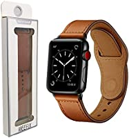 MEEFIX Genuine Stylish Leather Simpleness Strap Buckle Band Replacement for Apple Watch Series 4 3 2 1 38/42mm 40/44mm
