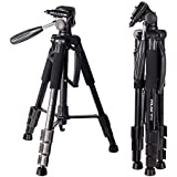 POLAM-FOTO 55 Travel Camera Tripod,Compact Tripod with Bubble Level,Lightweight Aluminum Tripod with Carry Bag for DSLR/SLR fits with Canon/Nikon/Sony/etc