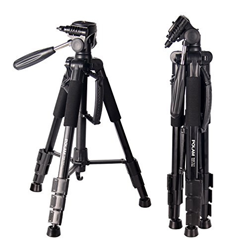 "POLAM 55""/140cm Lightweight Tripod with Bubble Level, Travel Camera Tripod with Carry Bag for SLR/DSLR fits with Canon/Nikon/Sony/etc."