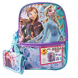 5 Pc. Disney Frozen Backpack Set for Girls, 16 inch w/Frozen Lunch Bag & Pencil Case