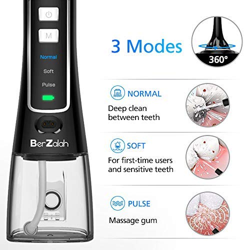BerZalah Water Flosser Cordless Water Flosser with 3 Modes & 4 Tips, Portable Oral Irrigator for Home, Office, and Travel, High-frequency Pulsation for Braces & Bridges Care, IPX7 Waterproof, 300ML
