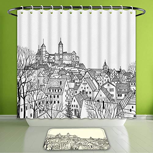 Waterproof Shower Curtain and Bath Rug Set Apartment Decor Collection Aerial View of A Medieval City with Gothic Roof Tops and Towers Roya Bath Curtain and Doormat Suit for Bathroom 66