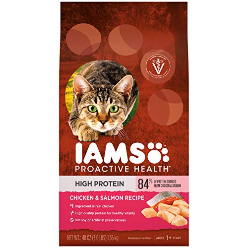 IAMS PROACTIVE HEALTH High Protein Adult Dry Cat Food with Chicken & Salmon, 3 lb. Bag