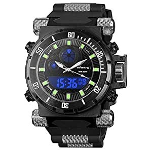 INFANTRY Mens Big Face Tactical Military Army Analog Digital Multifunction Sport Wrist Watch Black Rubber