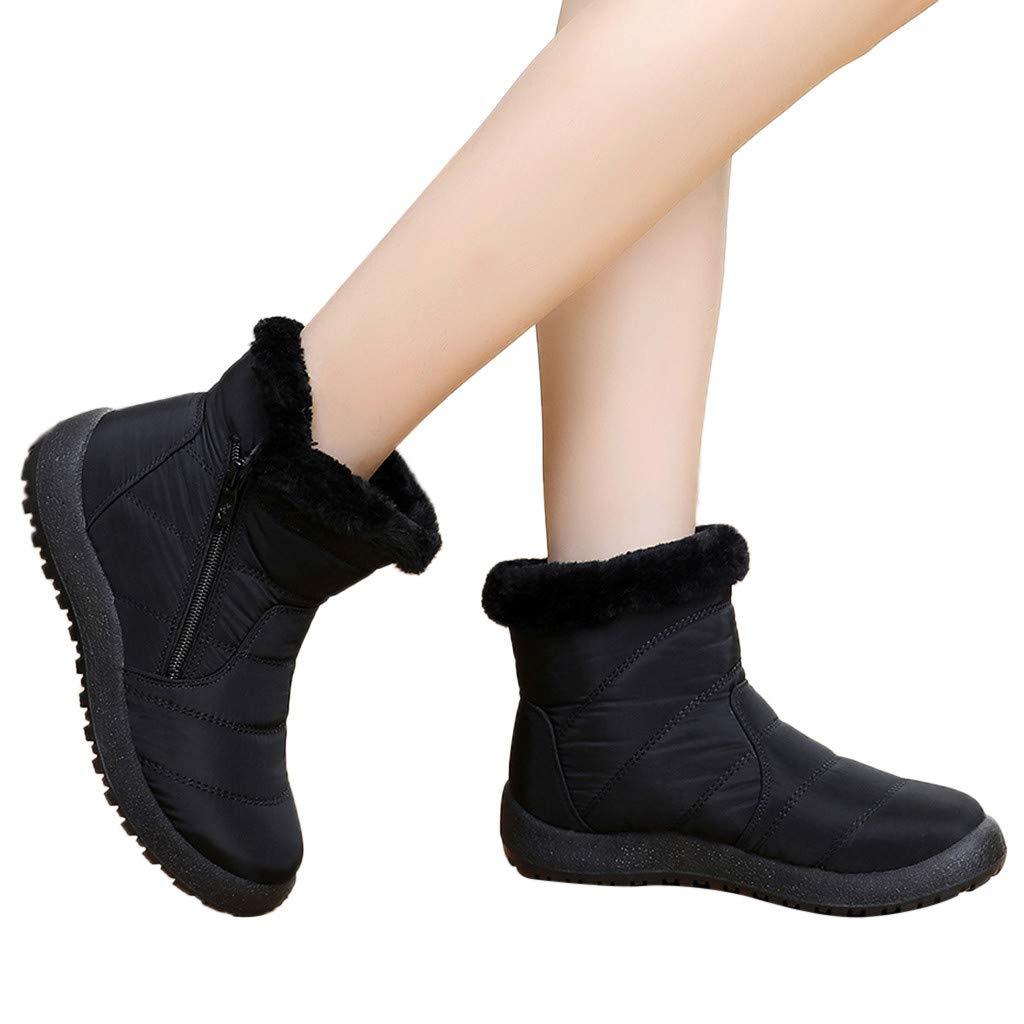 Women's Winter Snow Boots Warm Fur Lining Slip On Zipper Short Bootie Waterproof Outdoor Shoes (US:8.0, Black) by Appoi Women Shoes