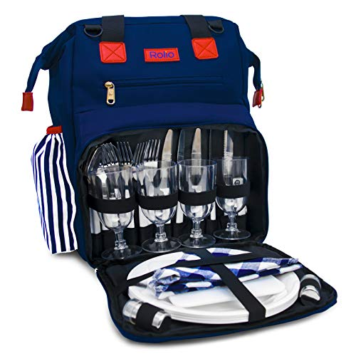 Rolio Picnic Backpack for 4 Person, Insulated Cooler Compartment, 2 Bottle Holders, Complete Stainless Steel Cutlery Set, 9