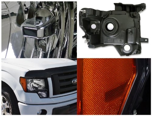 Ford F150 Pick Up Euro Crystal Black Headlight Pair