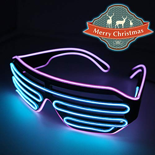 YJLWE LED Light Up Glasses Party Flashing EL Wire Neon Rave Glasses for Kids and Adults Carnival Halloween Disco Bar DJ Glowing Décor Purple and Blue]()