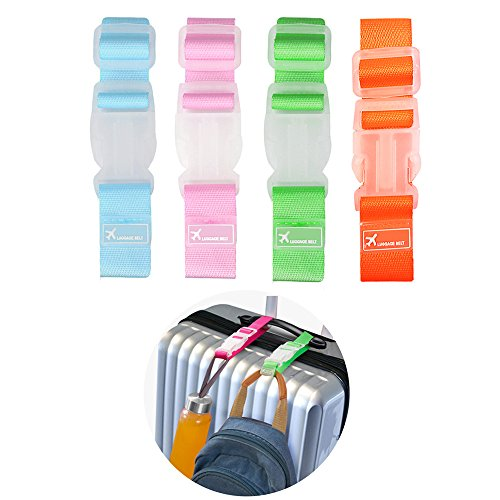 Gripper Strap (Wellgain 4pcs Add A Bag Luggage Strap ,Travel Luggage Clamp Holder Gripper Strap)