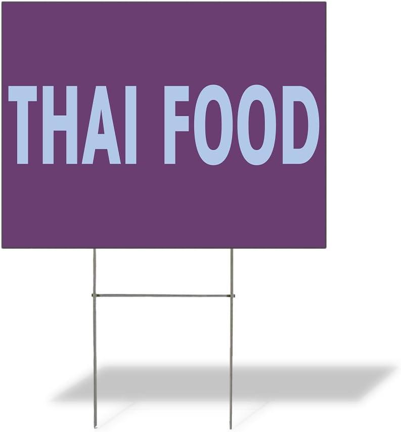 Weatherproof Yard Sign Thai Food Outdoor Advertising Printing A Purple Lawn Garden Restaurants 24x18 Inches 1 Side Print