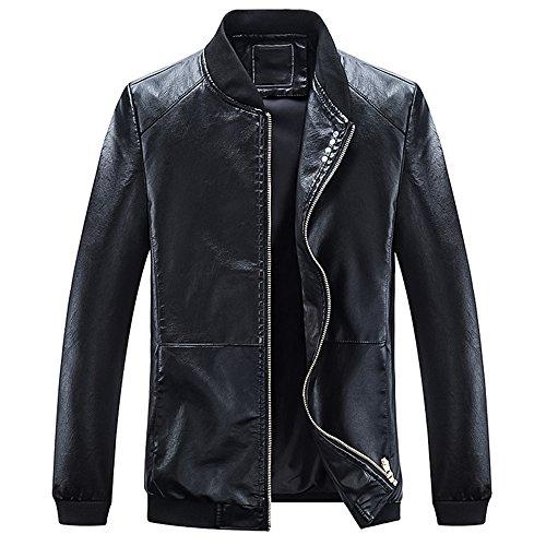 CloSoul Direct Men Big Boy Slim Fit Faux PU Leather Jacket Casual Waterproof Jacket