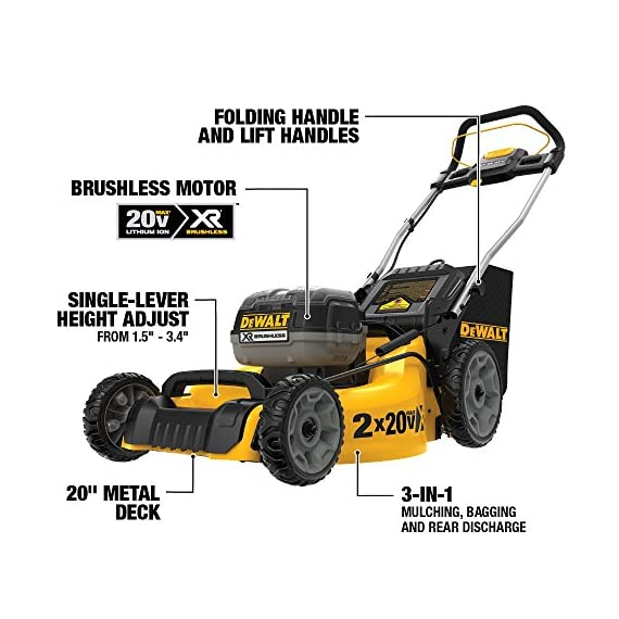 Dewalt 20v max lawn mower, 3-in-1, 2 batteries (dcmw220p2) 15 push mower comes with powerful brushless motor and (2) 20v max* batteries working simultaneously for high power output. 3-in-1 push lawn mower for mulching, bagging and side discharging battery lawn mower has heavy-duty 20-inch metal deck