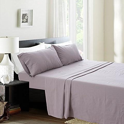 Simple&Opulence Linen Cotton Blend Sheet Set 4PCS Solid Color (King, Grey) - Flax Color