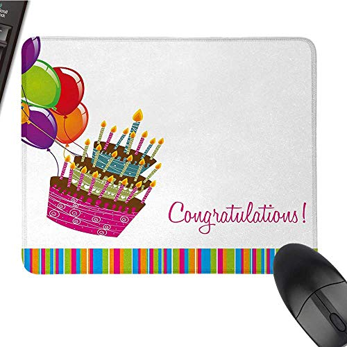 Birthdaylarge Mouse padPink Written Congratulations Graphic Cake Candles Balloons Birthday Art PrintComfortable Mousepad 9.8