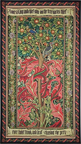 William Cotton Tapestry - Woodpecker Red by William Morris | Woven Tapestry Wall Art Hanging | Rich Tintricate Acanthus Leaves Among Birds | 100% Cotton USA Size 72x41