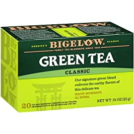 Bigelow Green Tea Bags, 20 Count Box (Pack of 6) Caffeinated Green Tea, 120 Tea Bags Total 1 DELICATE GREEN TEA: Our Classic Green Tea provides essential antioxidants making it delicious & healthy! Enjoy it as traditional hot tea or iced tea. INDIVIDUALLY WRAPPED: Bigelow tea always come individually wrapped in foil pouches for peak flavor, freshness and aroma to enjoy everywhere you go! Gluten -free, calorie-free, & Kosher certified. TRY EVERY FLAVOR: There's a tea for morning, noon & night time relaxation. Try our English Breakfast, Vanilla Chai, antioxidant Green Tea, decaffeinated, organic teas & a variety of our herbal tea bags.