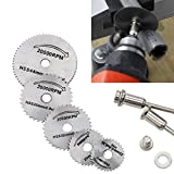 Chartsea 5x HSS Circular Wood Cutting Saw Blade Discs + 2x Mandrel Drill For Rotary Tool (A)