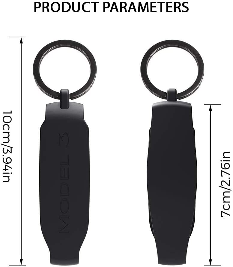 CoolKo Silicon Key Fob Keychain Holder Compatible with Tesla Model 3 and Y Key Fob Cover 1 Piece Black