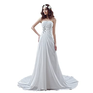 Ikerenwedding Damen Empire Brautkleid Gr. 30, weiß