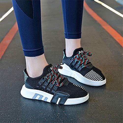 37 Damas Deportivos Deportivos Zapatos Negro cómodos Zapatos EU Color Transpirables FangYOU1314 Malla 1 tamaño Negro para Salvaje 3 para Deslizamiento de qFwaBBC