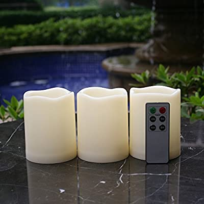 Qidea Waterproof Outdoor Flameless LED Decorative Candles with Remote and Timer Realistic Flickering Battery Operated Powered Electric Plastic Resin Pillar Candles 3-Pack