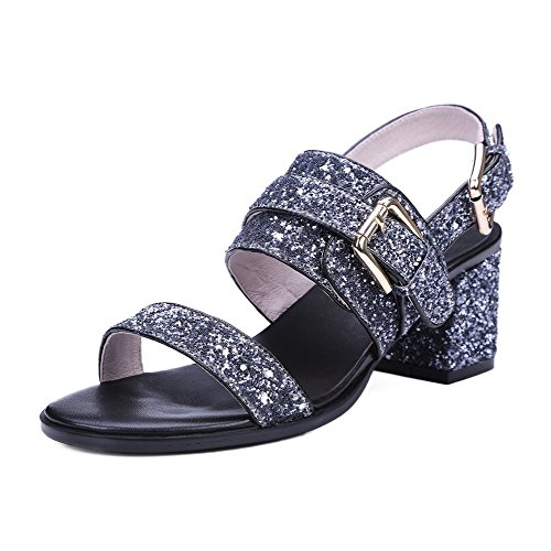AmoonyFashion Womens Kitten-Heels Soft Leather Solid Buckle Open-Toe Sandals Gray i9BCswpPj