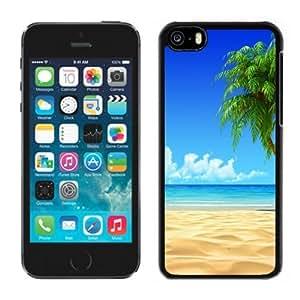 NEW Unique Custom Designed iPhone 5C Phone Case With Tropical Beach Coconut Tree Illustration_Black Phone Case