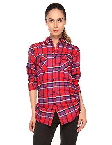 Flannel Plaid Womens (Match Women's Long Sleeve Button Down Collar Flannel Shirt #B003(Medium, Checks#7))