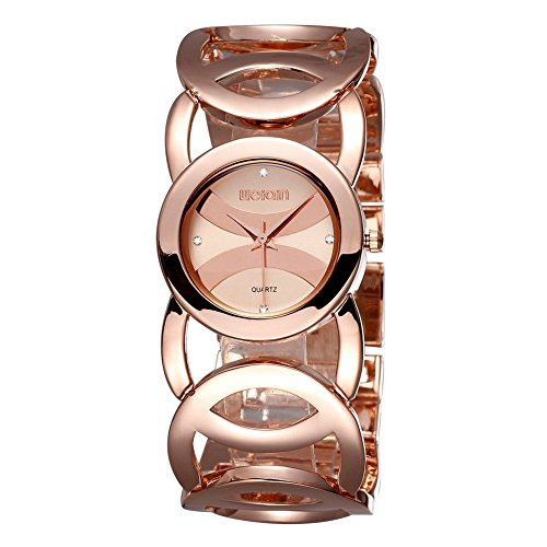 Women Gold Bracelet Wrist Watch- Hollow-out Diamond Quartz Watch with Round Dial - Bangle Drive Eco Bracelet Ladies