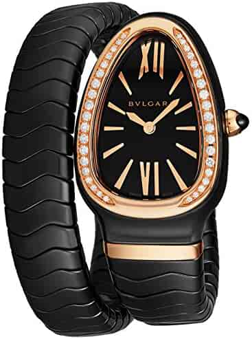 Bulgari Serpenti Spiga Womens Black Ceramic Rose Gold Diamond Watch - Triangle Analog Black Face with Sapphire Crystal Snake-shape Ladies Watch - Swiss Quartz Luxury Watches for Women SPC35BGDBCGD1.1T