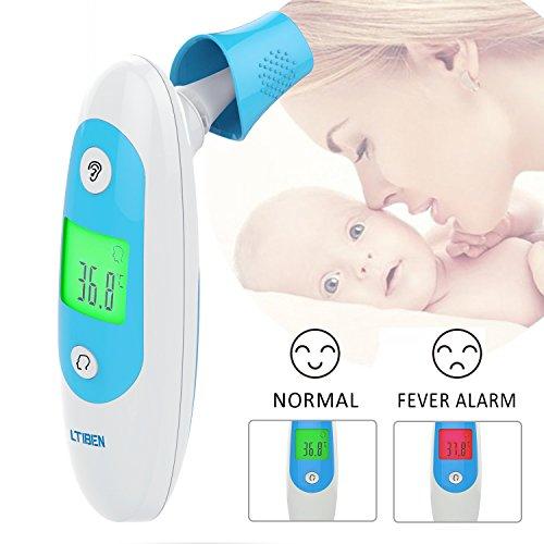 Termómetro Digital, Ltiben Termómetro Infrarrojo Médico para la Frente y el oído, Termómetro Profesional para Niños y Adultos con Indicador de Temperatura, ...