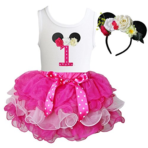Kirei Sui Tutu & 1st - 6th Birthday Tee & Floral Mouse Headband XS One (Minnie Mouse 1st Birthday Dress)