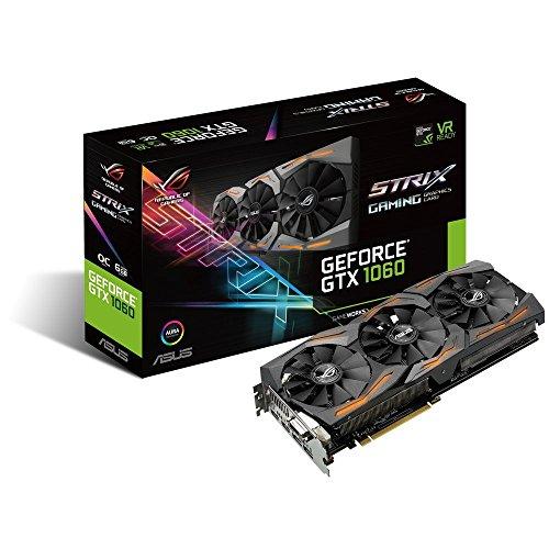 Asus ROG Strix GTX1060-O6G-Gaming Nvidia GeForce Grafikkarte (PCIe 3.0, 6GB GDDR5 Speicher, HDMI, DVI, Displayport)