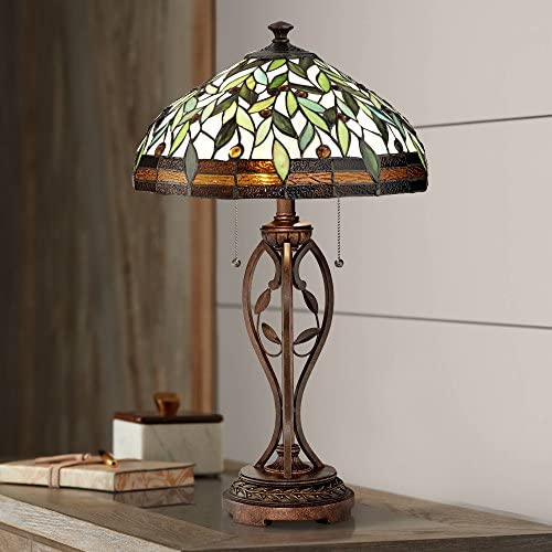 Traditional Table Lamp Blossoming Bronze Leaf and Vine Antique Glass Shade for Living Room Family Bedroom Bedside Nightstand – Robert Louis Tiffany