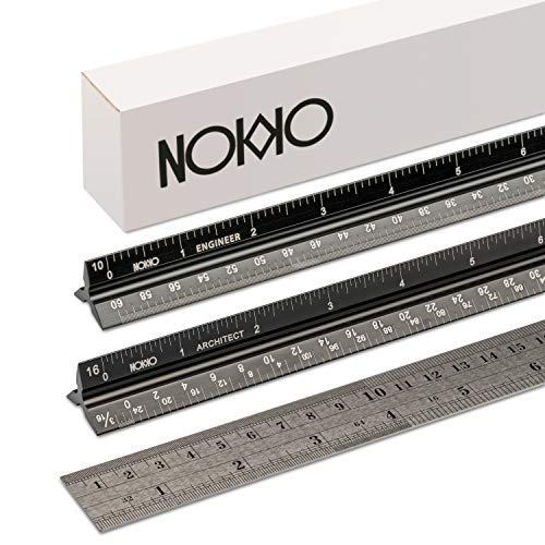 NOKKO 3 Piece Aluminum Ruler Set | Triangular Architectural & Engineering Imperial Scale Rulers Plus Standard Metric & Imperial Conversion Ruler | Professional Measuring Tools for Blueprints & More