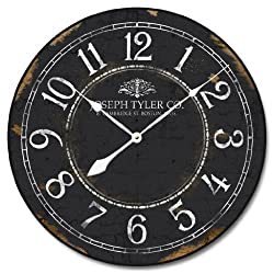 Black & White Wall Clock, Available in 8 sizes, Most Sizes Ship the Next Business Day, Whisper Quiet.