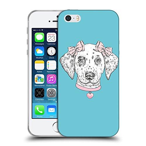 GoGoMobile Coque de Protection TPU Silicone Case pour // Q05040627 collier Chien Cyan // Apple iPhone 5 5S 5G SE