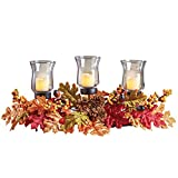 Collections Etc Fall Leaves LED Candle Centerpiece