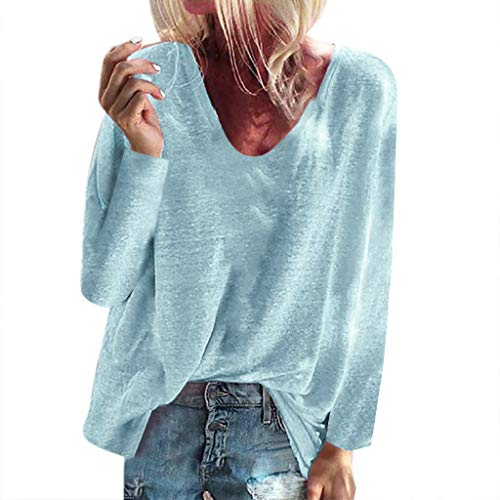FRENDLY Women's Long Sleeve Blouse Solid V-neck Shirt Casual Loose Pullover Tops Summer Swing Tunic Tops Shirts (Madden 17 Best Sliders)