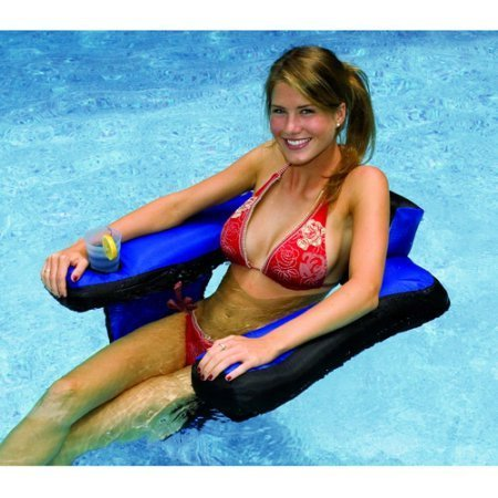 Deluxe Water Hammock (Rrugged Nylon Covered Vinyl U-Seat Pool Float with Cup Holder, Blue)