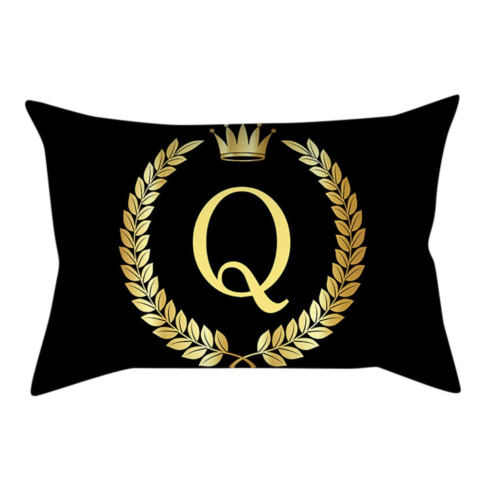 Clearance Sale! Pack Pillow Cases Decoration Alphabet Black Gold Letter Sofa Car Waist Throw Square Cushion Cover 30cmx50cm