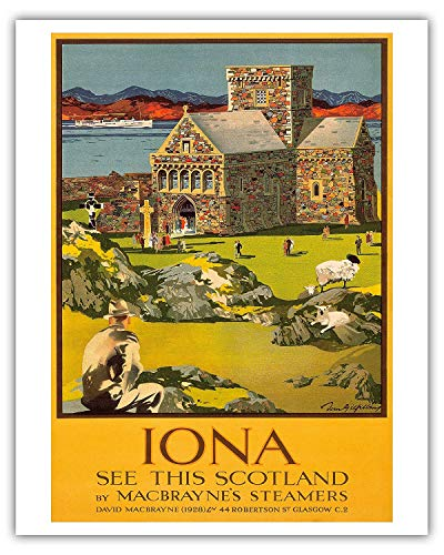 Fast Eletina 8in X 12in Vintage Tin Sign Iona See This Scotland by Macbraynes Steamers Celtic Cross at Iona Abbey